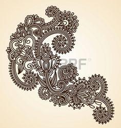 Рисованной Аннотация Хна Mendie Цветы Doodle векторные иллюстрации элемент дизайна photo