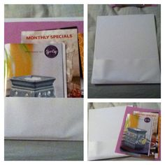 If u are going to have a party for scentsy or something of that nature get the binders that are plastic cut off the side to stick all the papers in...very reusable.