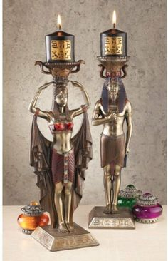 Design Toscano Egyptian Attendants to the Gods Sculptural Candleholders Set of Two - toscano gift weight loss Egyptian Furniture, Egyptian Home Decor, Egyptian Art, Egyptian Things, Gods And Goddesses, Ancient Egypt, Candlesticks, Candle Sconces, Art Decor