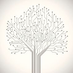 Vector Art : Circuit board tree symbol poster