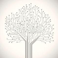 Vector Art : Circuit board tree symbol poster