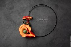 """Купить """"Голос осени"""". Колье из полимерной глины. - рыжий, оранжевый, красный, осеннее украшение"""
