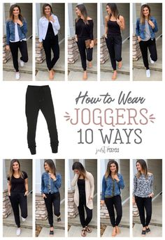 How to wear and style joggers 10 different ways! How to wear and style joggers 10 different ways!,Kleidung How to wear and style joggers 10 different ways! Love the idea of being comfortable and. Fashion Maman, Mode Ab 50, How To Wear Joggers, How To Wear Denim Jacket, How To Wear Leggings, Summer Outfits, Cute Outfits, Casual Mom Outfits, Summer Leggings Outfits