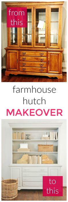 Before and after farmhouse hutch. How to turn this hutch from ordinary to extrao… Before and after farmhouse hutch. How to turn this hutch from ordinary to extraordinary. Simple step-by-step instructions. Farmhouse Furniture, Rustic Furniture, Diy Furniture, Farmhouse Decor, Painted Furniture, Furniture Stores, Painted Hutch, Furniture Movers, Furniture Refinishing
