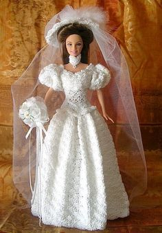 Victorian Bride 11½ inch Doll - crocheted with cotton thread and many little pearls..