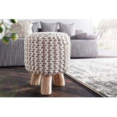 Check out this product on Alibaba App Hight Quality Cotton Crochet Round Wood pouf Ottoman Knit Wooden Foot Stool In Home Decoration Crochet Pouf, Knitted Pouf, Cotton Crochet, Leeds, Flat Ideas, Pouf Ottoman, Creative, Modern, Stool
