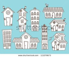 set of cartoon house and building, reference these with the mural.