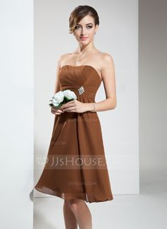 Bridesmaid Dresses - $99.99 - Empire Strapless Knee-Length Chiffon Bridesmaid Dress With Ruffle Crystal Brooch (007020932) http://jjshouse.com/Empire-Strapless-Knee-Length-Chiffon-Bridesmaid-Dress-With-Ruffle-Crystal-Brooch-007020932-g20932
