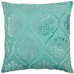 """Andora Pillow 26"""" ($50) ❤ liked on Polyvore featuring home, home decor, throw pillows, pillows, furniture, interior, damask throw pillows, square throw pillows, blue green throw pillows and aqua home decor"""