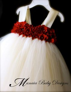 Flower Girl Tutu Dress / Red and Ivory Flower by ManaiaBabyDesigns, $88.00