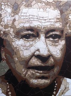 Stone tile mosaic of Queen Elizabeth - art by Ed Chapman;  80 x 62cm