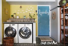 Laundry room reveal - clothes pin art and chalk board door
