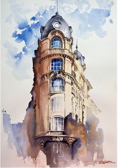 parisienne – - New Sites Pen And Watercolor, Watercolor Landscape, Watercolor Illustration, Watercolor Architecture, Architecture Drawings, Landscape Drawings, Landscape Paintings, Gouache Painting, Watercolor Paintings