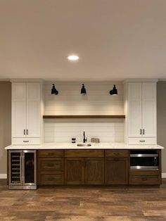 Bottom leve cabinets would be blueish grey but loving the accent of the shiplap behind the shelves Wet Bar Basement, Basement Bar Plans, Basement Makeover, Basement House, Basement Kitchen, Basement Flooring, Basement Renovations, Basement Finishing, Basement Ideas