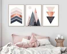 Set of 3, Printable, Downloadable Print Set, Scandinavian Prints, Mountains, Geometric, Wall Art, Bedroom Decor, Poster, Copper, Pink, Navy THESE ARE INSTANT DOWNLOADS – Your files will be available instantly after purchase. Please note that this is a digital download ONLY, no