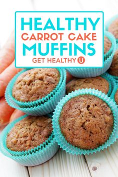 It's hard to beat a good carrot cake. But when its loaded with fat and sugar, your tummy may not thank you after you've indulged. That's why we created these delicious healthy carrot cake muffins. Loaded with fiber and good-for-you ingredients, these muffins are now worthy of breakfast, or even Easter brunch!