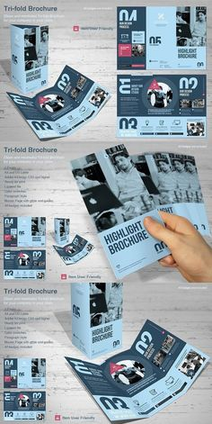 This is a modern and powerful template for a Tri-fold Brochure. Graphic Design Brochure, Brochure Layout, Corporate Brochure, Business Brochure, Tri Fold Brochure Design, Flugblatt Design, Book Design Layout, Pamphlet Design, Leaflet Design