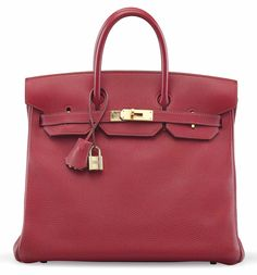 """A ROUGE GARANCE TOGO LEATHER HAC BIRKIN 32 BAGHERMÈS, 2001Gold Hardware. Includes lock, keys, clochette, dustcover, care card, raincoat, dustbag, and box.13"""" W x 10"""" H x 6½"""" DStamp E Square"""