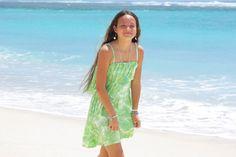 ビーチに着て行きたいムラ染めフリルキャミソールショートドレス <グリーン>