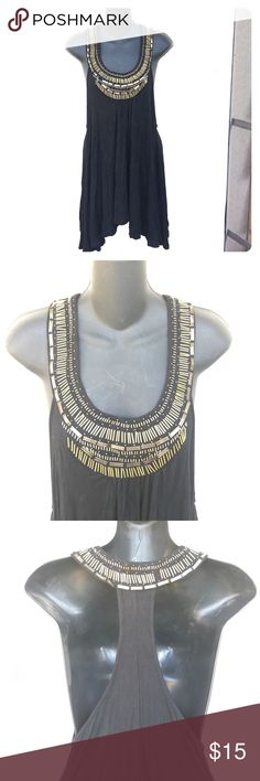 Detailed beaded top Top with a beautiful golden brassy beading. Razorback and flow on bottom. Note: missing one bead on back, see pic. Arden B Tops