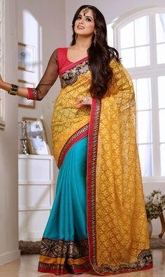 Tempting Teal Blue and Pumpkin Yellow #Saree - Order online @ http://www.yourdesignerwear.com/tempting-teal-blue-and-pumpkin-yellow-saree-p-45455.html