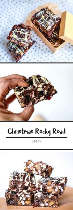 Christmas Vegan Rocky Road - dairy free, easily gluten free (just use gluten fre. - chocolate - Christmas Vegan Rocky Road - dairy free, easily gluten free (just use gluten fre. Christmas Food Gifts, Xmas Food, Christmas Cooking, Vegan Christmas Desserts, Vegan Christmas Cookies, Christmas Biscuits, Christmas Christmas, Christmas Hamper Ideas Homemade, Dairy Free Christmas Recipes