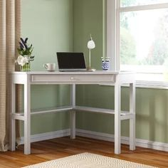 Computer table Branford with keyboard extensionWayfair.de - Computer table with Branford Keyboard extension way … - Corner Dressing Table, Industrial Office Desk, Small Guest Rooms, Built In Hutch, Stand Up Desk, White Desks, Business Furniture, Extension, Home Office Design
