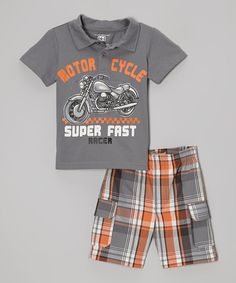 Look what I found on Kids Headquarters Gray 'Super Fast' Polo & Plaid Shorts - Infant, Toddler & Boys by Kids Headquarters Cute Boy Outfits, Toddler Outfits, Kids Outfits, Carters Baby Boys, Toddler Boys, Infant Toddler, Kids Boys, Toddler Fashion, Kids Fashion
