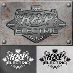 This is the Creative Hat Logo Design Concept for KEP Electric - Metal Version
