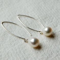 Long Ivory Pearl Drop Earrings | hardtofind.