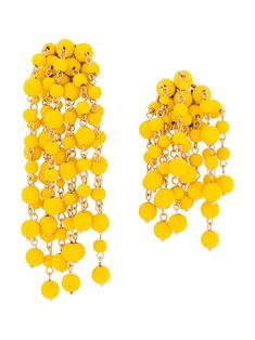 Jacquemus Beaded Chain Earrings In Yellow Chain Earrings, Delicate, Beads, Yellow, Gold, Chains, Sunshine, Closure, French