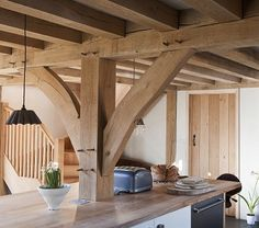 Example of oak timber frame joists in our kitchen at Castle Ring
