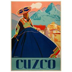 Original vintage Peruvian travel poster to Cuzco