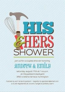 His Hers Couples Wedding Shower Invitation by papernpeonies