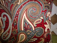 Love the color combo for a AZ Tuscan home - Triad -  Paisley Pillow Cover in Burgandy Red, Teal Blue, and Neutral (or gold)