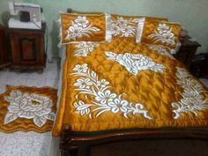 Bed Spreads, Decoration, Linen Bedding, Bed Sheets, Throw Pillows, Embroidery, Stitch, Bedroom, Sewing