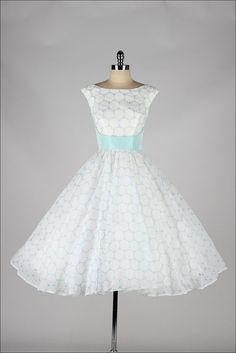 1950s dress white chiffon & sky blue with embroidered circles | the Vintage Fashion Collectionary
