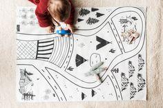 Black and White,Play Mat, Nursery Rug, Nursery Decor, Handmade, Floor Mat, Baby Play, Monochrome Mat, Play Mat, Car Game, Rolls Up Easy