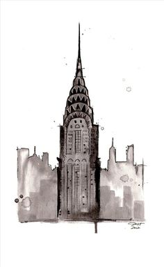 Watercolor Art ~ NYC ~ Empire State Building, New York City. By Jessica Durant Building Illustration, Illustration Sketches, Empire State Building, Building Drawing, Building Tattoo, Building Painting, Building Sketch, Building Art, Painting Art