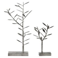 Metal Tree Table Top Sculpture and Jewelry Holder on Rectangular Base - Set of 2 - 395