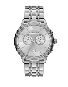 854a6d2281a Emporio Armani Men s Classic Chronograph All Steel Watch - Ice Fine  Jewellery