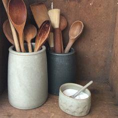 Handmade ceramics, kitchen interiors, tableware, pottery, utensil holders