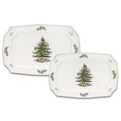 Spode 1373947 Christmas Tree Rectangular Platter - Set of 2