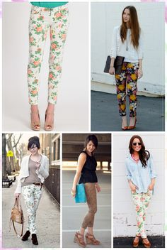 I am loving floral skinny jeans Fashion 101, Fashion Outfits, Fashion Trends, Woman Fashion, Floral Jeans, Classy Outfits, Classy Clothes, Colored Denim, Style Inspiration