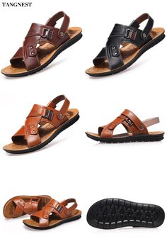 a6a7987c41fc  Visit to Buy  Tangnest Men Sandals 2017 Summer New Men Beach Slippers Pu  Leather