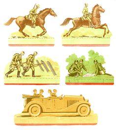 Бумажные солдатики. Всадники. Связисты. Солдаты с картой. Офицеры в машине.