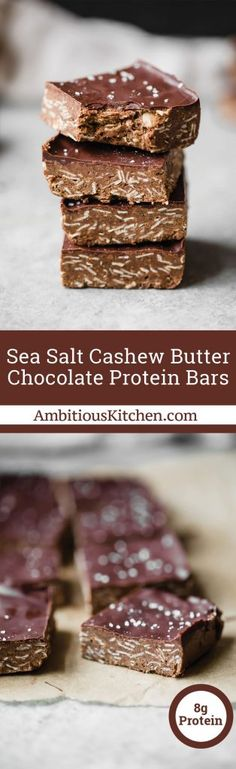 Incredible no-bake cashew butter chocolate protein bars with a sprinkle of sea salt. These make for a delicious post-workout snack and a satisfying treat. #snackrecipe #nobake #healthysnack #vegan #glutenfree