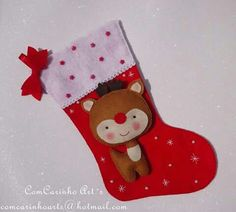 Botinha/meia em feltro de natal