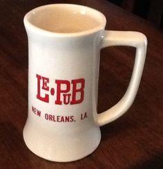 "Vintage New Orleans Louisiana LE PUB Ceramic BEER MUG 6"" Tall St Charles Hotel Sold $15.21"