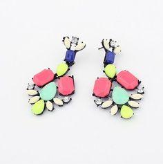 Betsey Johnson Fashion colorful crystal earrings E122 #BetseyJohnson